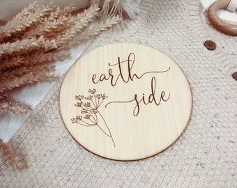 Earth Side Baby Announcement Plaque | Photo Prop | Wooden Signage | Bamboo Custom Scripted Round Circle | Botanical Leaf