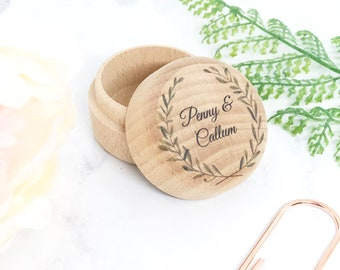 Round Wooden Ring Box with Names - Personalised UV Printed Custom Wreath Design - Rustic Wedding Ring Gift Box Holder