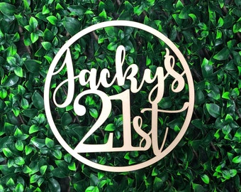 Personalised Twenty First 21st - Custom Name + Any Age - Birthday Wooden Hoop Sign - Party Event Decor Decoration