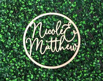 Personalised Wooden Hoop Sign for Wedding / Engagement - Scripted Custom Names - Bride & Groom