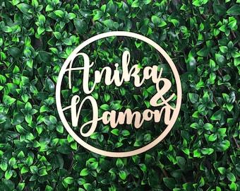 Personalised Wooden Hoop Sign for Wedding / Engagement - Custom Names - Bride & Groom