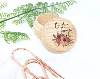 Round Wooden Ring Box - Bride & Groom - Personalised UV Printed Custom Flower Design - Rustic Wedding Ring Gift Box Holder