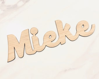 Bamboo or Raw Wood MDF Kids Wooden Timber Names Plaque | Kids Room Decor | Home | Office