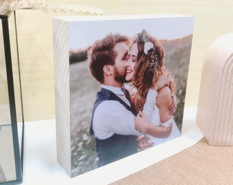 Square Wooden Photo Block MEDIUM |  Personalised Photo | Freestanding Custom Made | Gift for Mum Dad Grandparents | Digital Print on Wood