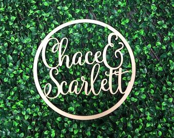 Personalised Wooden Hoop Sign for Wedding / Engagement - Script Custom Names - Bride & Groom