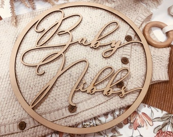 Baby Name Wooden Hoop | Photo Prop | Pregnancy Announcement | Newborn Baby | Personalised Name Sign