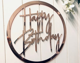 Happy Birthday Acrylic Hoop Sign - Event Wall Decor - Birthday Signage - Custom Signs - Any Age Celebration - Australian Made
