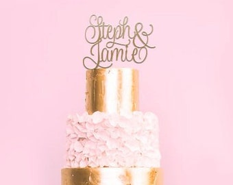 Personalised Name and Name Wedding or Engagement Cake Topper | EXPRESS SHIPPING