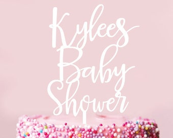 Custom Baby Shower -  Scripted Cake Topper - Glitter / Acrylic / Mirror / Wooden / Party / Baby /  Express Shipping