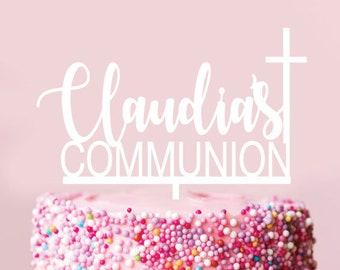 Custom Name COMMUNION WITH CROSS -  Scripted Cake Topper - Glitter / Acrylic / Mirror / Personalised / Express / Religious