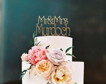 Personalised Mr&Mrs Surname Wedding Cake Topper | Name Cake Topper Decoration | EXPRESS SHIPPING