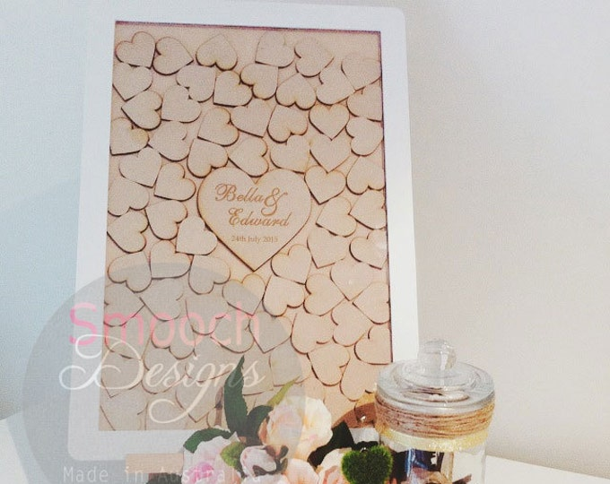 Featured listing image: White & MDF Drop Box Frame with wooden hearts - Alternative Wedding / Engagement / Birthday Guest Book - Signature Board