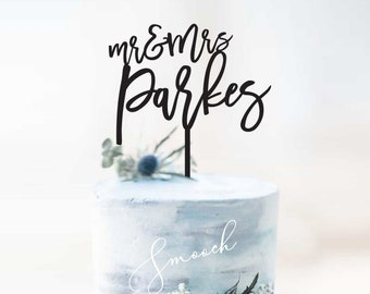 Personalised Mr&Mrs Surname Wedding Cake Topper   Scripted Name Cake Topper Decoration   EXPRESS SHIPPING
