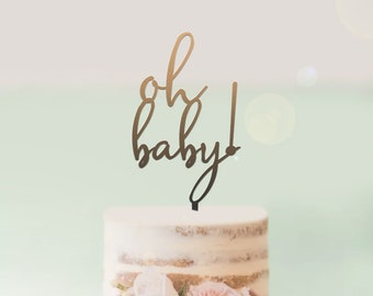 Oh Baby - Baby Shower Cake Topper -  Cake Decoration - Party - Celebration - Surprise - Reveal - Boy - Girl / Express Postage