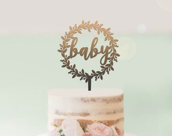 Baby Wreath - Baby Shower Cake Topper -  Cake Decoration - Party - Celebration - Surprise - Reveal - Boy - Girl / Express Postage