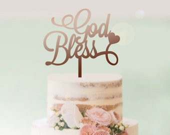 God Bless Cake Topper - Personalised with Heart - Religious - Baptism - Christening - Communion - Express Postage