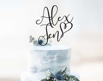 Personalised Names Wedding and Engagement Cake Topper   Scripted Couple Cake Topper Decoration   EXPRESS SHIPPING