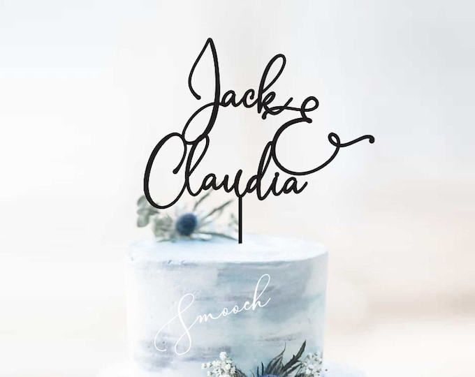 Featured listing image: Personalised Names Wedding and Engagement Cake Topper | Scripted Couple Cake Topper Decoration | EXPRESS SHIPPING