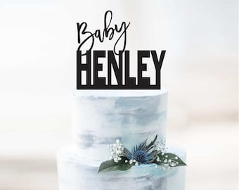 Baby Shower Cake Topper - or Birthday - Personalise with Name or Surname - Cake Decoration - Celebration - Boy - Girl / Express Postage