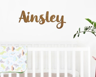 Wooden Bamboo Script Kids Name Plaque - Bedroom Wall Decor - Kids Room - Home - Decoration - Personalised Name Sign