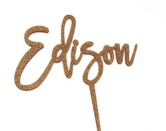 Custom Name - Cake Topper - Script - Glitter / Acrylic / Mirror / Bamboo Wood / Personalised / Boy or Girl Birthday / Express