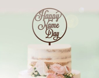 Happy Name Day in Circle - Religious Cake Topper - Orthodox - Naming Day - Express Postage