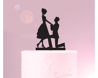 Proposal Silhouette -  Wedding or Engagement Cake Topper - Cake Decoration / Party Decor for Bride and Groom to be  /  Express Shipping