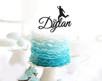 Birthday Cake Topper - Soccer player personalised with Name -Cake Decoration - Party - Celebration - Express Postage