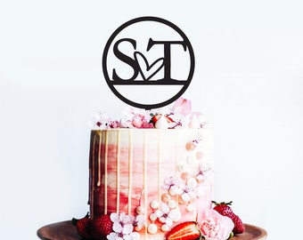 Initials with Heart in Circle - Wedding and Engagement Cake Topper | Couple Cake Topper Decoration | EXPRESS SHIPPING