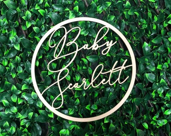 Personalised Baby Shower Wooden Hoop Sign - Name Sign - Event Signage - Custom Made - Baby Surname