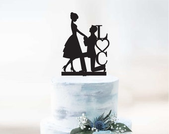Personalised Initials Wedding and Engagement Cake Topper - Bride Groom Silhouette | Couple Cake Topper Decoration | EXPRESS SHIPPING