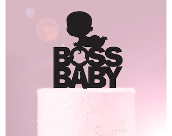 Boss Baby Silhouette - Baby Shower Cake Topper -  Cake Decoration - Party - Surprise - Reveal - Boy - Girl / Express Postage