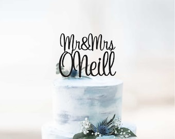 Personalised Mr&Mrs Surname Wedding Cake Topper | Scripted Name Cake Topper Decoration | EXPRESS SHIPPING