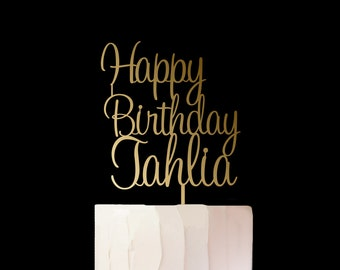 Happy Birthday Cake Topper - Personalise with Name - Cake Decoration - Party - Celebration - Boy - Girl - Adult  / EXPRESS POST