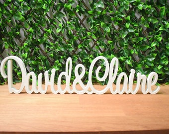 WHITE Custom / Personalised Wedding Engagement Names Signs - Name & Name | Free Standing Table Decoration