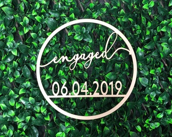 Personalised Wooden Hoop Sign for Engagement with Date - Event Decor - Custom Signage - Flowerwall