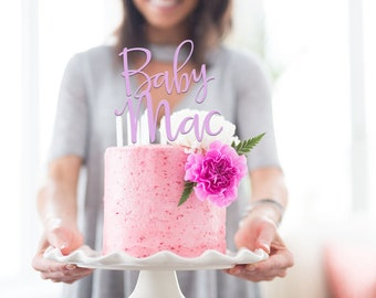 Baby Shower Cake Topper - Personalise with Name / Surname - Cake Decoration - Party - Celebration - Boy - Girl / Express Postage