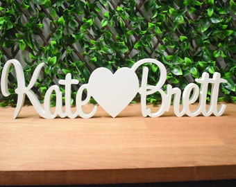 WHITE Custom / Personalised Wedding Engagement Names Signs - Name heart Name | Free Standing Table Decoration