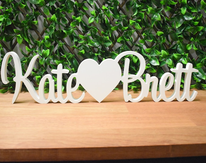 Featured listing image: WHITE Custom / Personalised Wedding Engagement Names Signs - Name heart Name   Free Standing Table Decoration
