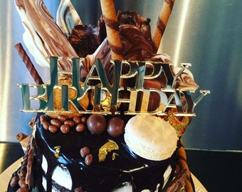Happy Birthday with Long Stick / Prong - Glitter / Acrylic Cake Topper