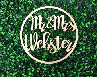 Personalised Wooden Hoop Sign for Wedding / Engagement - Mr and Mrs Surname - Bride & Groom