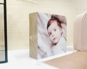 Square Wooden Photo Block SMALL  |  Personalised Photo | Freestanding Custom Made | Gift for Mum Dad Grandparents | Digital Print on Wood