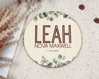 Newborn Baby Name Plaque | Photo Prop | Announcement | Wooden Signage | Bamboo Custom Scripted Round Circle | Botanical Leaf | Keepsake Gift