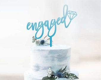Engaged with Diamond -  Scripted Cake Topper -  Engagement Cake Topper - Bride Groom - Gay Couple - Party Decoration /  Express Shipping
