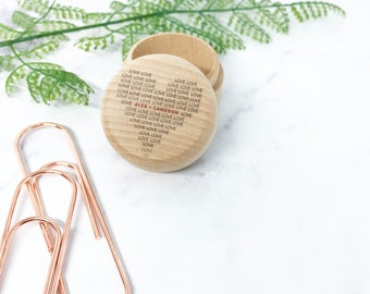 Round Wooden Ring Box - Name and Name in Love Heart Shape - Personalised UV Printed Custom Wreath Design - Rustic Ring Gift Box Holder