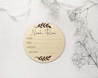 Newborn Baby Announcement Plaque | Photo Prop | Wooden Signage | Bamboo Custom Scripted Round Circle | Botanical Leaf | Keepsake Gift
