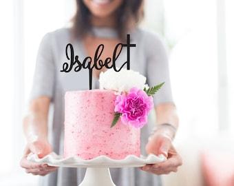 Personalised Name Cake Topper - Cross - Religious Cake Topper - Custom - Baptism - Christening - Communion / Express Postage