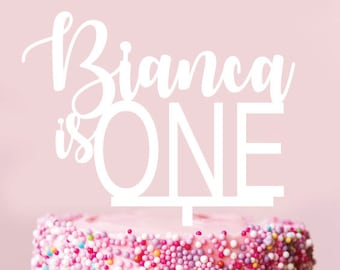 Custom Scripted Name IS ONE - Cake Topper - Glitter / Acrylic / Mirror / Wood / Personalised / First Birthday 1st / Boy / Girl / baby
