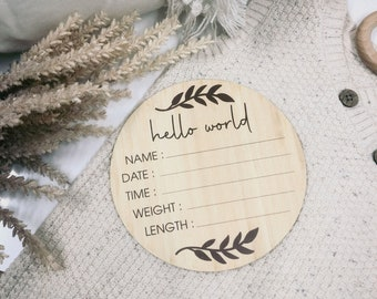 Hello World Baby Announcement Plaque | Photo Prop | Wooden Signage | Bamboo Custom Scripted Round Circle | Botanical Leaf