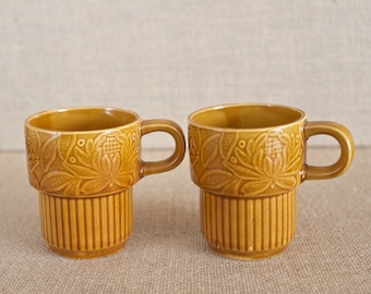 Vintage Stackable Coffee Cups - Made in Japan - Excellent Condition - Perfect for Small Spaces